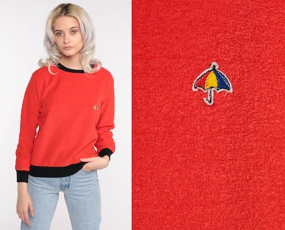 Terry Cloth Sweater 70s Red-Orange Umbrella Shirt… - image 1