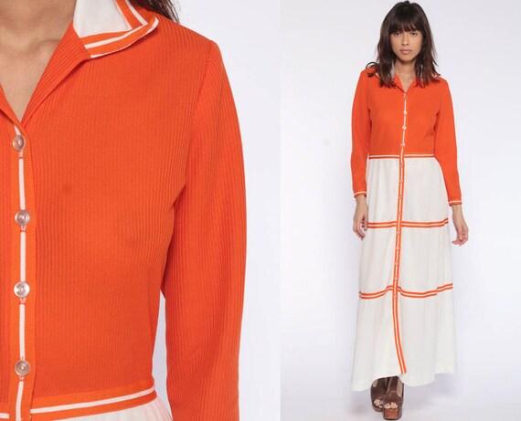 Mod Maxi Dress Orange 70s Hippie Boho Retro Dress 1970s Bohemian Color Block Vintage Long Sleeve White High Waist Button Up Small Medium