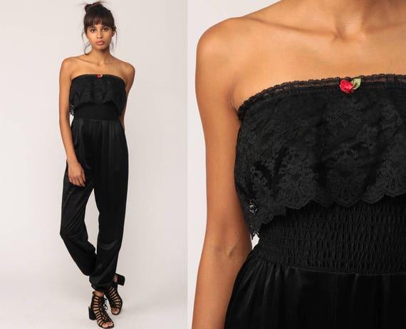 Black Jumpsuit Lingerie 80s Jumpsuit LACE Romper Pants STRAPLESS Onesie Vintage Pantsuit High Waist Nylon Small