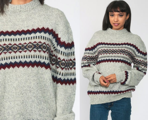 Grey Geometric Sweater 80s Saugatuck Dry Goods Striped Sweater Wool Blend Knit Jumper 1980s Boho Vintage Pullover Medium Large