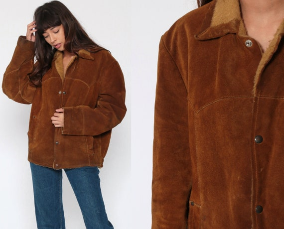 Brown SUEDE Jacket 70s Shearling Leather Flight Ja