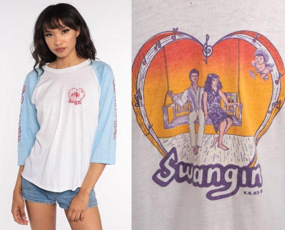 70s Graphic Shirt Swinging Couple Print Cupid Shirt Baseball Tee Ringer Shirt 80s T Shirt Raglan Sleeve Graphic Vintage Extra Large xl l