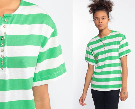 90s Green Striped TShirt 80s T Shirt Half Button Up Retro Tee Sportswear Polo Shirt Short Sleeve Vintage 1980s Tee Extra Small xs
