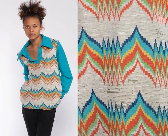 70s Shirt Chevron Stripe Print Turquoise Blue Shirt Hippie Boho Vintage Bohemian Rainbow Tunic Top 1970s Long Sleeve Collared Medium