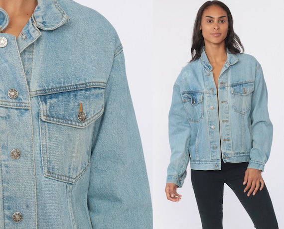 Saugatuck Jean Jacket 80s Denim Jacket Oversized Jean Jacket Trucker Blue Stone Wash Dry Goods Vintage Biker 90s Coat Small Medium