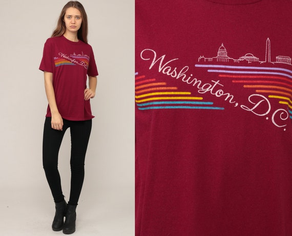 Washington DC Shirt Retro TShirt Burgundy Rainbow Stripe 80s Capitol Building Vintage T Shirt Graphic Print Travel Tee Monument Large