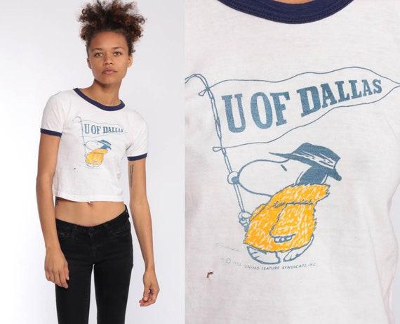 University of Dallas Shirt SNOOPY Shirt Retro TShirt U of DALLAS Graphic Shirt 80s College T Shirt 70s Ringer Tee Vintage Extra Small xxs