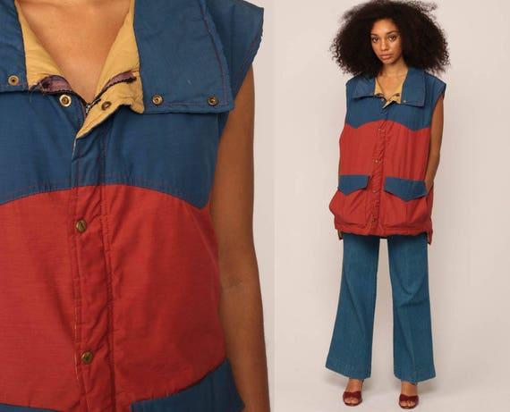 Ski Vest Puffer Vest 70s Vest Striped Puffy Sleeveless Jacket Retro Winter Color Block 80s Hipster Vintage 1970s Blue Rust Red Large