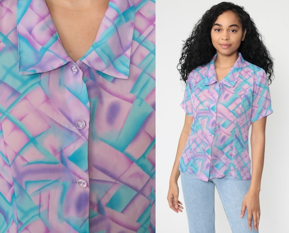 Y2K Button Up Shirt Purple Blue Geometric Shirt Print 00s Short Sleeve Blouse Op Art Top Vintage Polyester 2000s Medium