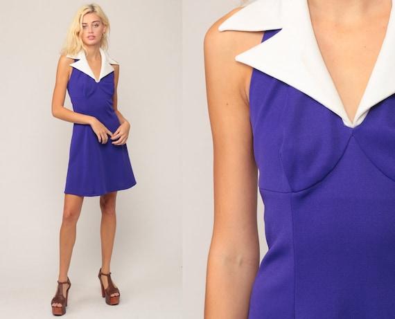 Mod Dress Halter Neck Dress 70s Mini Purple Dress Open Back Empire Waist Hippie Boho Party Deep V Neck Vintage Plain Sheath Small