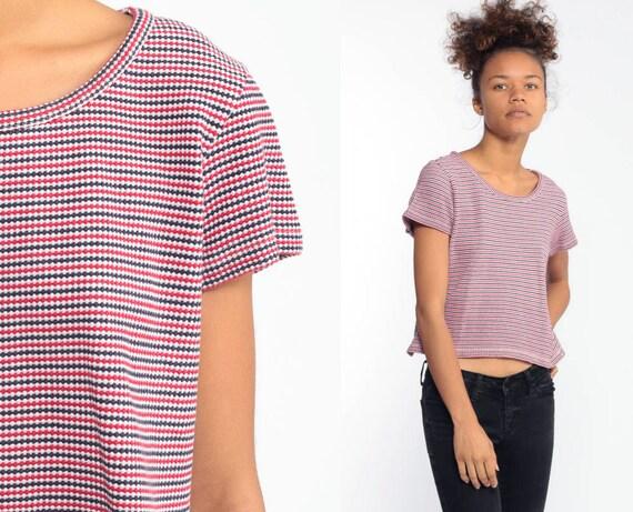 Striped T Shirt 90s T Shirt Grunge Short Sleeve Shirt Red White Blue Tshirt Retro Tee Vintage Normcore Small Medium