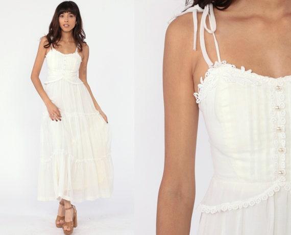 Prairie Sun Dress Vintage 70s Maxi Prairie Bohemian Dress Sundress White Button Up Dress 1970s Boho Hippie Sun Summer Wedding Extra Small xs