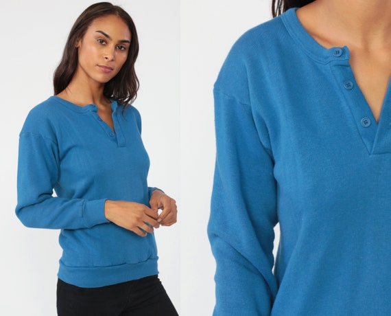 80s Sweatshirt Royal Blue Sweater Polo Shirt Button Up Retro Slouchy Plain Solid Blue 1980s Sports Vintage Extra Small xs