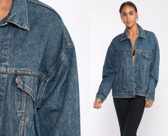 Levis Denim Jacket Medium -- Trucker Jean Jacket 80s Denim Jacket Blue Levi Coat 1980s Vintage Retro Grunge Biker Hipster Small Medium