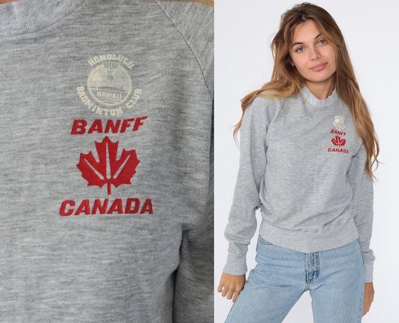 Banff Sweatshirt Vintage Canada Sweatshirt Honolulu Badminton Club 80s Jumper Slouchy Sweat Shirt 1980s Sweater Grey Small S