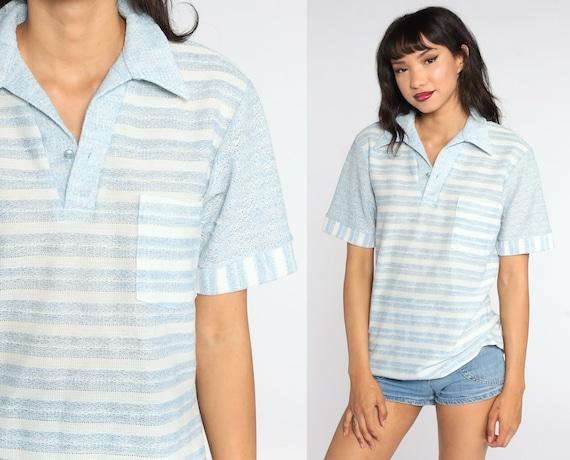 Striped Polo Shirt 70s White Baby Blue Shirt Half Button Up Shirt Polo Shirt Collared 1970s Stripes Nerd Retro Vintage Medium Large