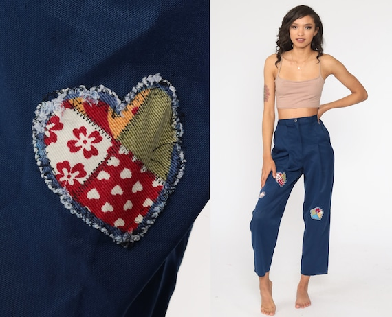 Patchwork Pants Blue Pleated Trousers High Waisted