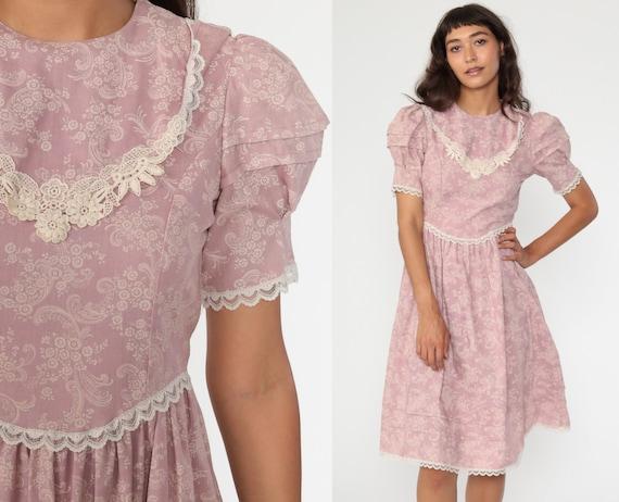Vintage Boho White Dress Lavender Flower Sheer Sleeves Sheer Bodice Scarf Skirt