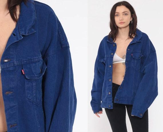 Blue Denim Jacket LEVIS Jacket 80s Levi Jean Biker Hipster Oversized Grunge Colored 1980s Vintage Button Up Coat Extra Large XL