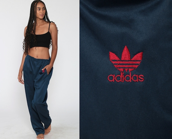 ADIDAS Track Pants 80s Navy Blue Gym Jogging Running Track Suit 1980s Sports Vintage Retro Polyester Streetwear Joggers Large L