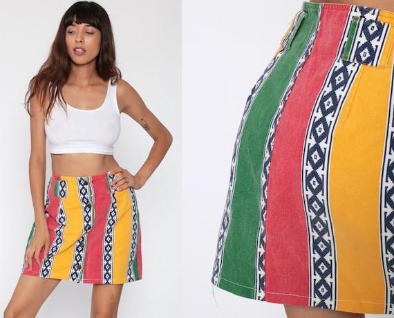 Denim Mini Skirt Tribal Jean Skirt 90s Button Up Skirt 80s High Waisted Southwest Red Yellow Green Retro Vintage Southwestern Medium
