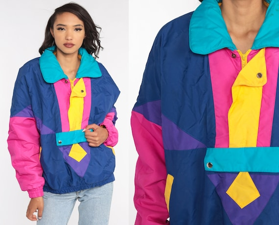 Neon Color Block Jacket Retro 80s Striped Pullover Puffy Coat Winter Jacket Pink Blue Puffer Jacket 1980s Hipster 90s Puff Large