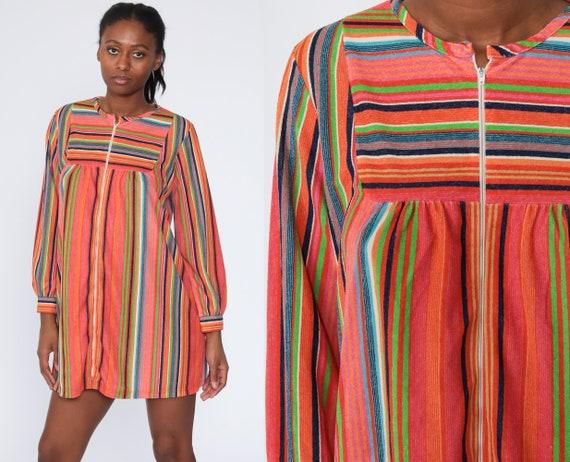 Terry Cloth Dress Boho Mini Rainbow Dress 70s Striped Bohemian Front Zip Tent Lounge Dress Vintage 1970s Minidress Medium