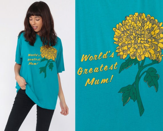 World's Greatest Mum Shirt Mom Pun Graphic Shirt Joke Shirt 80s Retro Tshirt Flower Mother Shirt Vintage Retro T Shirt 90s Extra Large xl