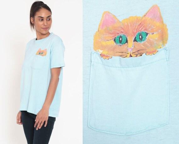 Cat Shirt Graphic Tshirt Pocket Tshirt 90s HAND PAINTED Graphic T Shirt 80s Screen Print Tee Kitten Vintage Baby Blue Medium Large