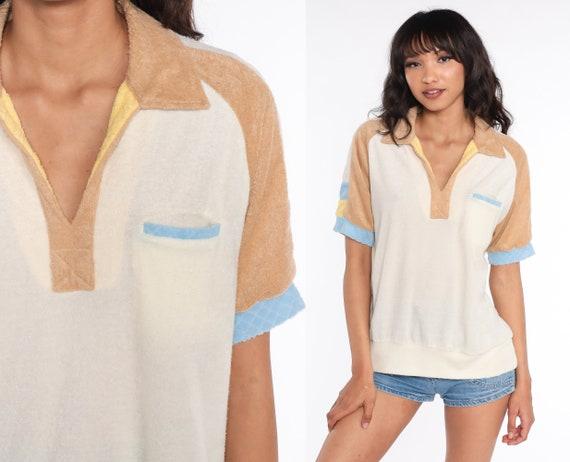 70s Terry Cloth Shirt 1970s Cream Shirt Retro Polo Pocket TShirt Brown Short Sleeve V Neck Shirt Collared Shirt Medium Large