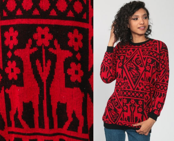 Deer Sweater 80s Red Floral Animal Print Slouchy … - image 1
