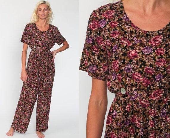 Floral Jumpsuit Wide Leg Jumpsuit Pink Purple 90s Grunge Palazzo Pantsuit Boho Baggy High Waist Vintage Romper Pants 1990s Medium
