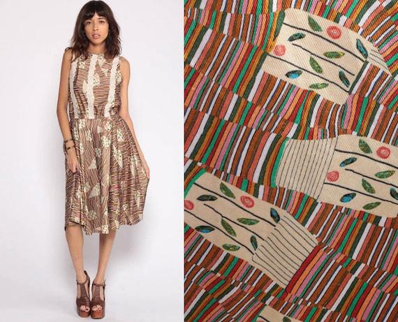 Psychedelic Dress Bohemian Midi Dress 70s Hippie Print High Waisted Striped 1970s Vintage Boho Lace Trim Sleeveless Extra Large xl