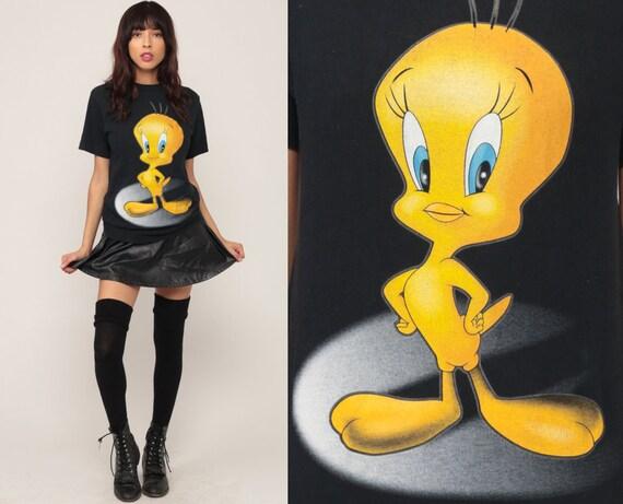 Looney Tunes Shirt TWEETY BIRD Tshirt 90s Cartoon Warner Bros Graphic Retro Tee 1990s Vintage T Shirt Black Small