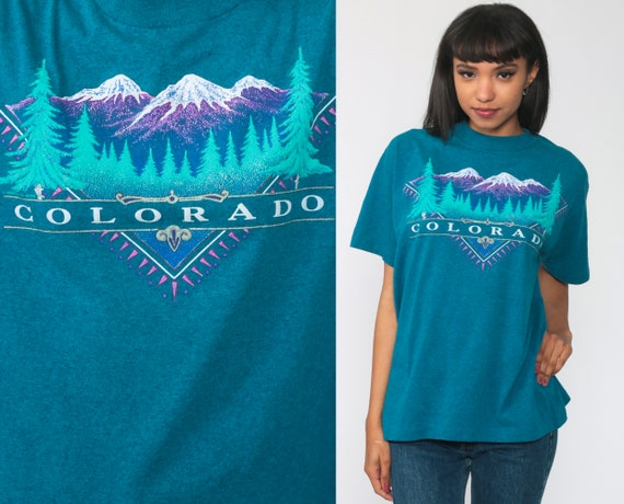 Colorado Shirt 80s T Shirt Retro Tee Rocky Mountains Print 90s Retro TShirt Vintage Graphic Tee Turquoise Single Stitch Medium Large