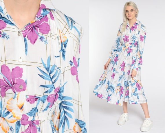 White Floral Dress 80s Midi Dress Bohemian Button Up Dress Vintage Shirtdress High Waisted 1980s Long Sleeve Dress Purple Blue Small Medium