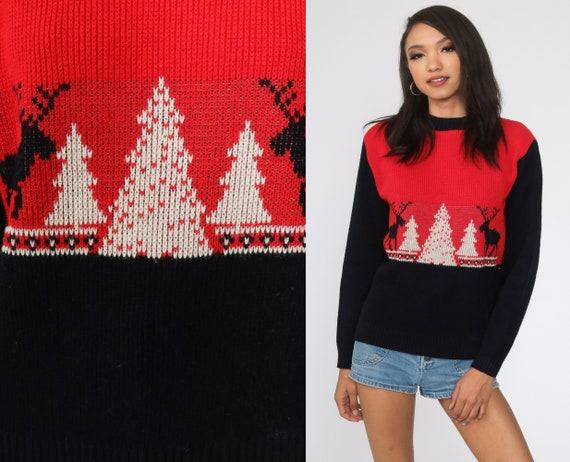 Reindeer Sweater 80s Christmas Tree Sweater Vintage Animal Sweater Nordic Black Red Slouchy Deer Ski Pullover 1980s Knit Medium