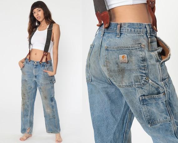 90s Dickies Jeans -- Suspender Workwear Distressed Work Pants Jeans 90s Baggy Cargo Work Pants Wide Leg Denim Pants Vintage 32 12