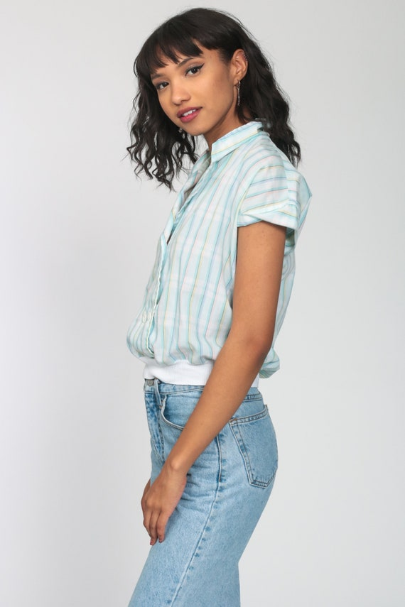 Pastel RAINBOW Blouse 80s Button Up Shirt Striped… - image 5