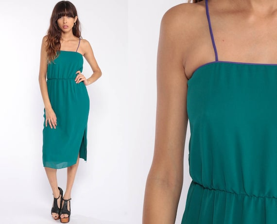 Teal Dress 70s Boho Dress Grecian Midi Green SIDE SLIT Spaghetti Strap 1970s Vintage Bohemian High Waist Party Summer Plain Extra Small xs