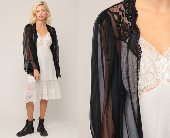 Sheer Black Robe Lingerie Jacket 80s LACE Robe Bed Jacket Gothic Lingerie Nylon Chiffon Romantic 1980s Vintage Medium Medium Large