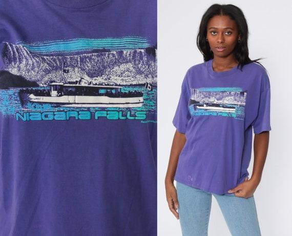 NIAGARA Falls Shirt Purple TShirt Vintage T Shirt Graphic Print 80s Travel Distressed Tee 90s Large