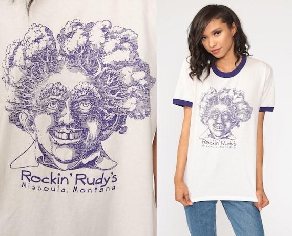 Rockin' Rudy's Shirt Ringer Tee Shirt Missoula Montana Shirt 80s Tshirt Graphic Tee Retro Vintage T Shirt 1980s Jerzees Medium