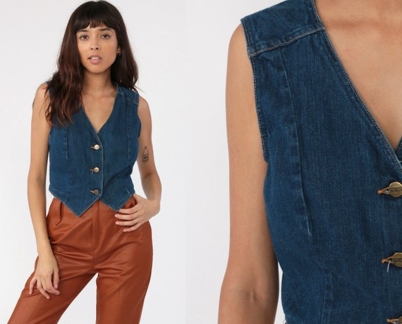Wrangler Denim Vest Sleeveless Jacket 70s Jeans Vest Western Wear Cowgirl Blue Jean Biker Top 80s Vintage Medium