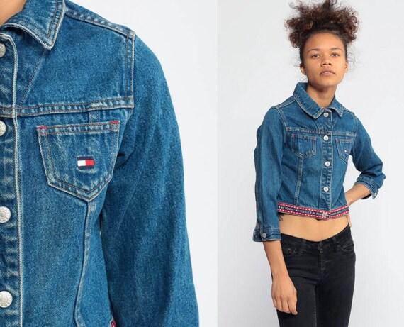 Tommy Jean Jacket TOMMY HILFIGER Jacket Flag Logo Denim Jacket 90s Jean Jacket Streetwear Biker Blue 1990s Sportswear Extra Small XXS