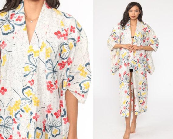 70s Kimono Robe -- Floral Robe 1970s Bohemian Wrap White Maxi Dressing Gown Boho Hippie Red Kimono  Small Medium Large