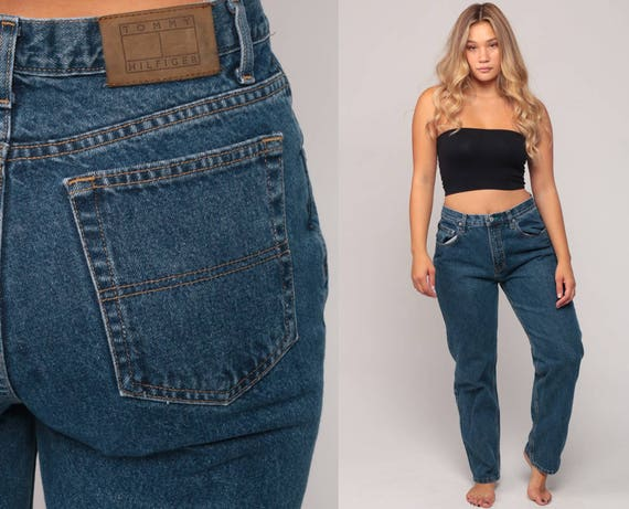 90s Mom Jeans TOMMY HILFIGER Jeans Tommy Jeans Denim Pants High Waist Jeans Blue Relaxed Vintage Hipster Medium Large 10 12 33