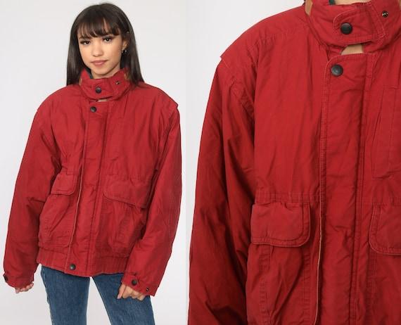 Red Puffer Coat Goose DOWN Jacket 80s Winter Coat