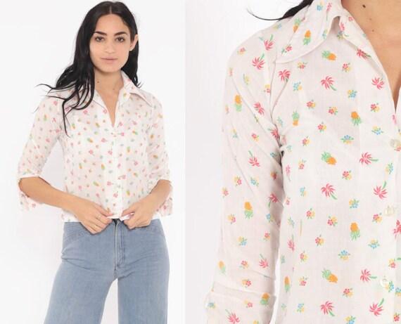 Pineapple Palm Tree Shirt Hawaiian Blouse 70s Tropical Shirt Button Up Shirt Floral Print 1970s Boho Top Extra Small xs
