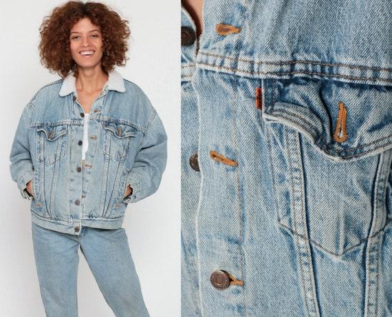Levis Sherpa Jacket S -- Denim Shearling Jacket 90s Denim Jacket Jean Levi Fleece Blue Coat Fleece Lined 1980s Vintage Small